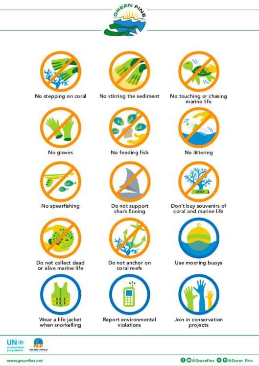 Icon describing the do's and dont's as a responsible scuba diver