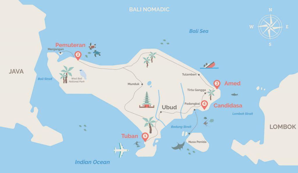 Bali map - Pemuteran Diving PADI Course