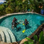 Scuba divers learning skills in a swimming pool