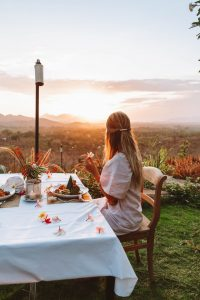Romantic dinner at sunset from Sumberkim Hill