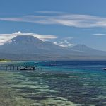 The view from Menjangan Island over the Java volcanoes