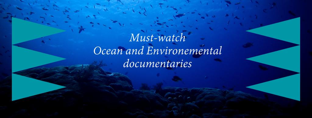 Top ocean documentaries title with an ocean seafloor background