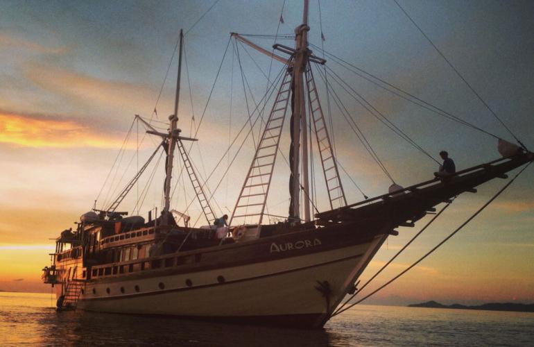 Aurora boat sunset